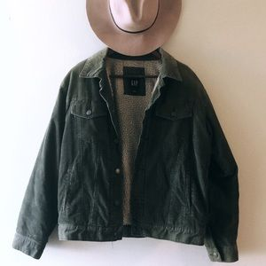 Vintage army green corduroy GAP jacket